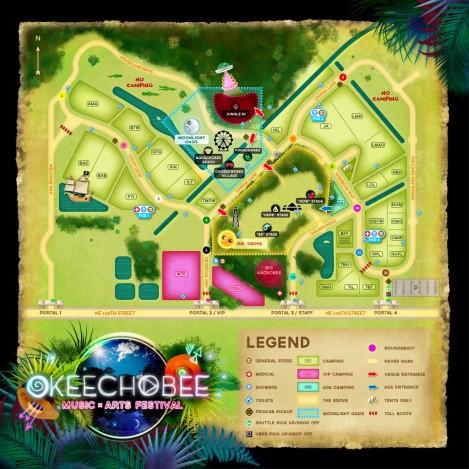 Okeechobeefest.com, Okeechobee 2016 Festival Map